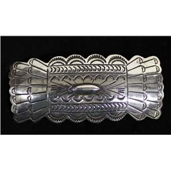 Navajo Hand Stamped Sterling Silver Barrette