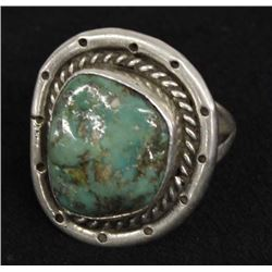 Vintage Navajo Sterling Turquoise Ring, Size 8.5