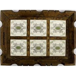 Mexican Hand Carved Wood and Tile Tray