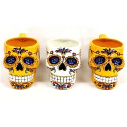 3 Large Day of the Dead Ceramic Cups