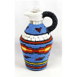 Hand Beaded Glass Pitcher by Kathy Kills Thunder