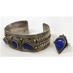 Tibetan Sterling and Lapis Bracelet and Ring