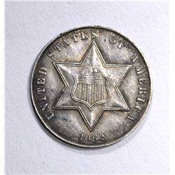 1862 THREE CENT SILVER  AU
