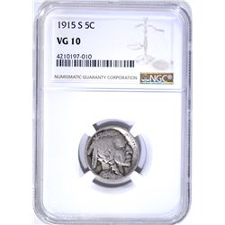 1915-S BUFFALO NICKEL, NGC VG-10