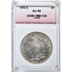 1883-S MORGAN DOLLAR, WHSG AU/BU