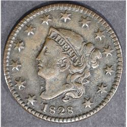 1828 LARGE CENT  SMALL WIDE DATE