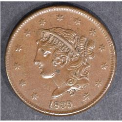 1839 LARGE CENT  BEAUTIFUL CH BU+ BROWN