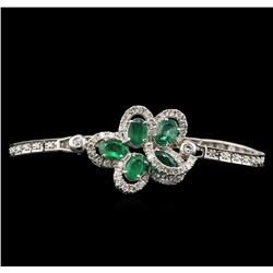 4.05 ctw Emerald and Diamond Bracelet - 14KT White Gold