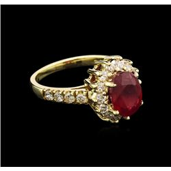 2.60 ctw Ruby and Diamond Ring - 14KT Yellow Gold