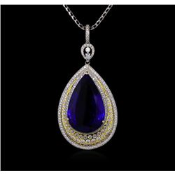 18KT White Gold GIA Certified 69.66 ctw Tanzanite and Diamond Pendant With Chain