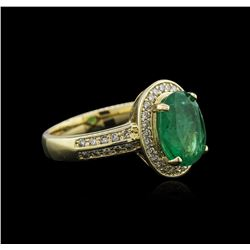 14KT Yellow Gold 2.16 ctw Emerald and Diamond Ring