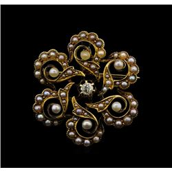 14KT Yellow Gold Pearl and Diamond Brooch