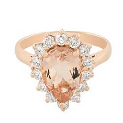 14KT Rose Gold 2.37 ctw Morganite and Diamond Ring