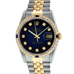 Rolex Mens 2 Tone 14K Blue Vignette Diamond & Sapphire Datejust Wristwatch
