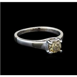 14KT White Gold 0.75 ctw Round Cut Fancy Brown Diamond Solitaire Ring