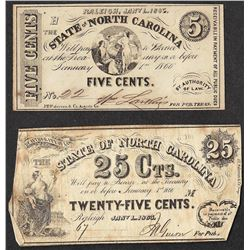 Lot of 1866 Five Cents & Twenty-Five Cents State of North Carolina Obsolete Note