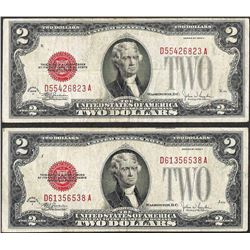 Lot of (2) 1928F $2 Legal Tender Notes