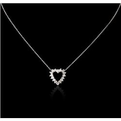14KT White Gold 0.52 ctw Diamond Heart Pendant With Chain