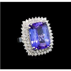 GIA Cert 19.22 ctw Tanzanite and Diamond Ring - 14KT White Gold