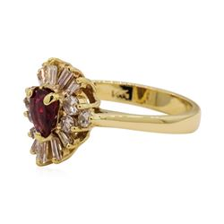 0.40 ctw Ruby and Diamond Ring - 14KT Yellow Gold