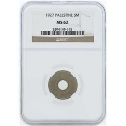 1927 Palestine 5 Mills Coin NGC MS62