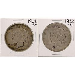 Lot of (2) 1922-S $1 Peace Silver Dollar Coins