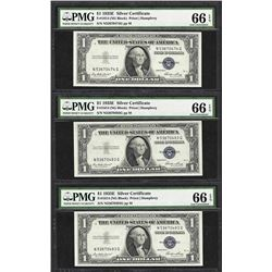 Lot of (3) 1935E $1 Silver Certificate Notes Fr.1614 PMG Gem Uncirculated 66EPQ
