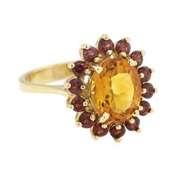 3.32 ctw Citrine and Garnet Ring - 14KT Yellow Gold