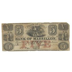 1852 $5 Bank of Massillon, Massillon, OH Obsolete Bank Note