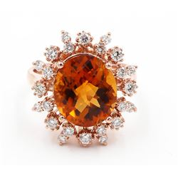 6.21 Carat Oval Cut Madeira Citrine Diamond Engagement Ring in 14k Rose Gold