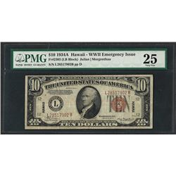 1934A $10 Hawaii Federal Reserve WWII Emergency Note Fr.2303 PMG Very Fine 25