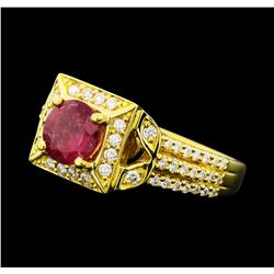 1.02 ctw Ruby And Diamond Ring - 18KT Yellow Gold