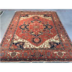 MAGNIFICENT HAND-KNOTTED SERAPI  WOOL RUG 8'X10'