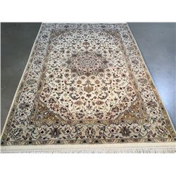SILK & WOOL PERSIAN KASHAN HAND KNOTTED WOOL RUG   4.1x6.1
