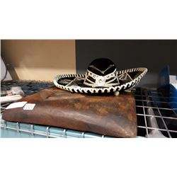 CARVED WOOD SLAB AND SOMBRERO