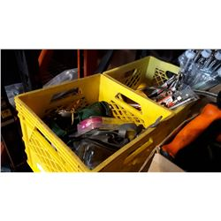 2 YELLOW CRATES OF FAUCET CONNECTOR HOSES, AND HARNESS AND RESPIRATOR MASK