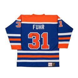 "Grant Fuhr Signed Oilers Authentic Mitchell  Ness Jersey Inscribed ""HOF 03"" LE 31 (UDA COA)"