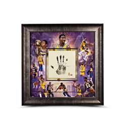 "Magic Johnson Signed Lakers LE 36x36 Custom Framed Tegata Display Inscribed ""HOF 02"" (UDA COA)"