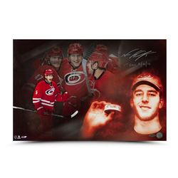 "Noah Hanifin Signed Hurricanes ""First Horn"" 16x24 Photo Inscribed ""1st Goal 11/16/15"" (UDA COA)"
