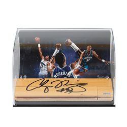 Alonzo Mourning Signed Hornets 11x7x5 NBA Game-Used Floor Curve Display LE 33 (UDA COA)