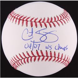 """Curt Schilling Signed OML Baseball Inscribed """"04/07 WS Champs"""" (MAB COA)"""