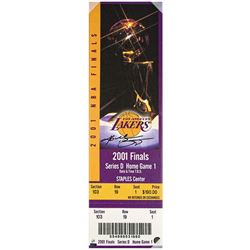 """Kobe Bryant Signed """"2001 NBA Finals"""" 9x33 Limited Edition Oversized Ticket on Canvas (Panini COA)"""