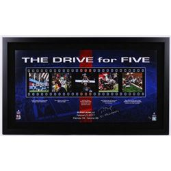 """Tom Brady Signed Patriots """"The Drive For Five"""" 24x41 Limited Edition Custom Framed Collage Inscribed"""