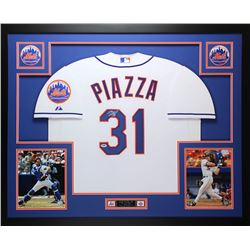 """Mike Piazza Signed Mets 35"""" x 43"""" Custom Framed Jersey (PSA COA)"""