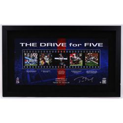 """Tom Brady Signed Patriots """"The Drive for Five"""" 18"""" x 30"""" Custom Framed Photo Display (Steiner COA  T"""