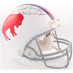 "O.J. Simpson Signed Bills Throwback Full-Size Authentic On-Field Helmet Inscribed ""H.O.F 85 - 2003 Y"