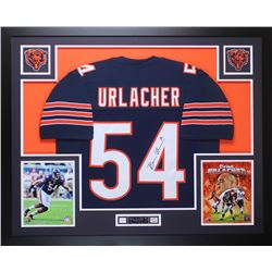 Brian Urlacher Signed Bears 35x43 Custom Framed Jersey Display (JSA COA)