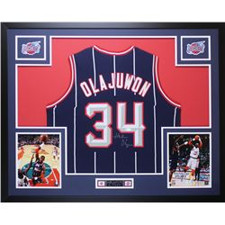 Hakeem Olajuwon Signed Rockets 35x43 Custom Framed Jersey Display (JSA COA)