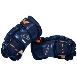 "Connor McDavid Signed Pair of CCM Hockey Gloves Inscribed ""16-17 MVP"" (UDA COA)"