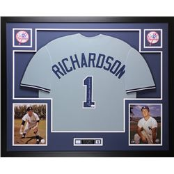 Bobby Richardson Signed Yankees 35x43 Custom Framed Jersey (JSA COA)
